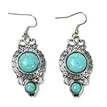 buy Ginasy Silver Plated Beaded Turquoise Drop Earrings