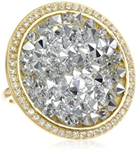 18k Gold Plated Sterling Silver Genuine Swarovski Elements Grey Crystal Rock and Cubic Zirconia Border Ring, Size 7