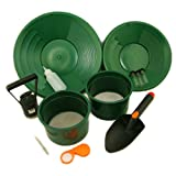 Gold Panning Kit with 2-Classifiers Screens 2-Green Pans-Scoop-Magnet-Snuffer ++