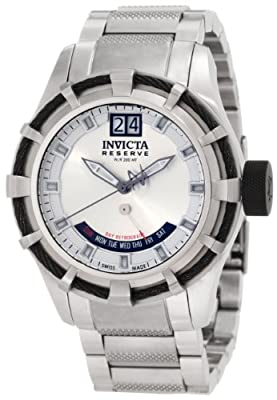 Invicta Men's 1580 Reserve Retrograde Silver Dial Stainless Steel Watch