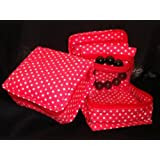 Cosmetic Organizer Jewelry Organizer Travel Pouch In Beautiful Red Polka Dot Design Made With Quilted Cotton