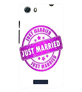 Fuson 3D Printed Just Married Rubber Stamp Designer Back Case Cover for Micromax Unite 3 Q372 - D672