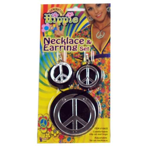 Peace Sign Earrings and Necklace Set
