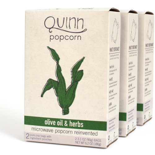 Quinn Popcorn: Microwave Popcorn Reinvented {Olive Oil & Herbs} 3Pk