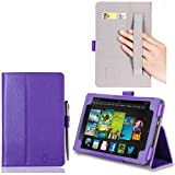 i-BLASON Kindle Fire HDX 7 inch Tablet Leather Case Cover / Stylus (Automatically Wakes and Puts the Kindle Fire HDX to Sleep) (Note Compatible with Kindle Fire HD 7) 3 Year Warranty (Purple)