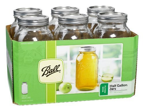 Ball Wide Mouth Half Gallon Jars with Lids and Bands, Set of 6 (Half Gallon Canning Jars compare prices)