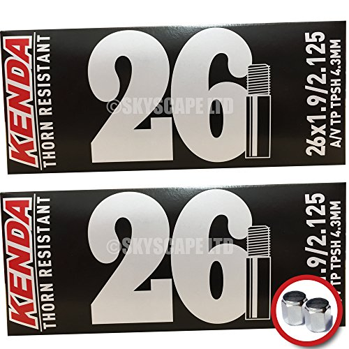 2 x Kenda THORN RESISTANT Inner Tubes - 26 x 1.9 - 2.125 - Schrader / Auto Valve - PAIR - FREE SHIPPING! FREE VALVE CAP UPGRADE WORTH $4.99! (Puncture Resistant Inner Tube compare prices)