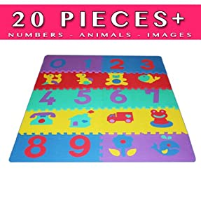 Lamma Loe Puzzle Play Mat, Numbers and Images