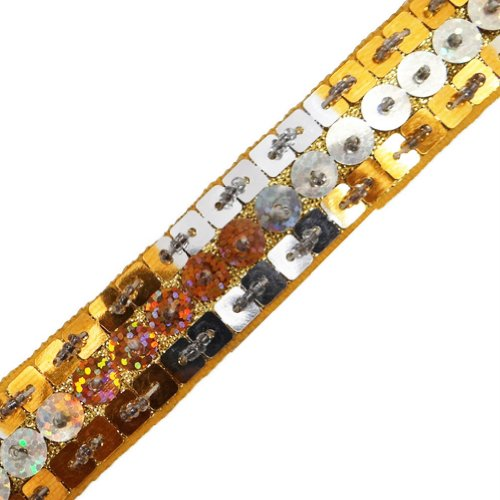 Yellow Base Sequin Ribbon Trim Sewing Craft Decorative Border Lace 3 Yd
