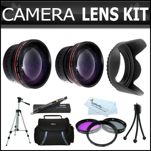 58mm 2x Telephoto and .45x Wide Angle Lens Kit + (3) Filters (UV-CPL-FLD) + Case + 62mm Hard Lens Hood + Tripod + Accessories Kit For Canon VIXIA HF S21, HF S20, HF S200, HF S30 Dual Flash Memory Camcorder