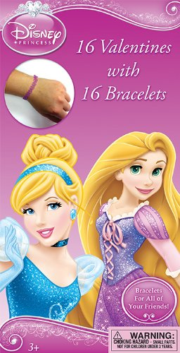 Paper Magic Disney Princess Deluxe Valentines with Bonus Bracelet (16 Count)