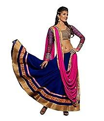 Khazanakart Designer Blue Color Georgette Fabric Un-stitched Lehenga Choli With Chiffon Dupatta Material.