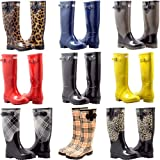 Women's Rain Boots Flat Mid Calf Rubber Rain & Snow Wellies Boots