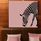 Half Zebra Removable Wall Decal / Large Art Transfer / Vinyl Graphic ne16