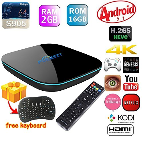 2016 NEW Puersit [2GB/16GB/4K] Quad-Core A53 Android 5.1 Smart TV BOX Amlogic S905 Streaming Media Player Bluetooth XBMC KODI ,2.4G/5.0G double wifi+ I8 Wireless Keyboard (Gbox Quad compare prices)