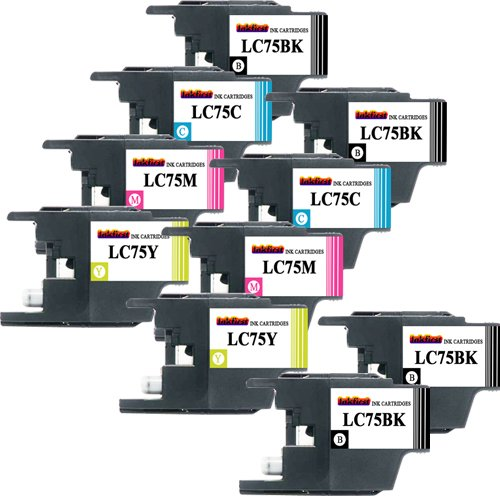 Brother LC75 Ink Cartridges Non OEM - 10 Ink Cartridges LC75BK, LC75C, LC75M, LC75Y Compatible Remanufactured for Brother LC75 Black, Cyan, Magenta, Yellow (2 Set + 2 Black)