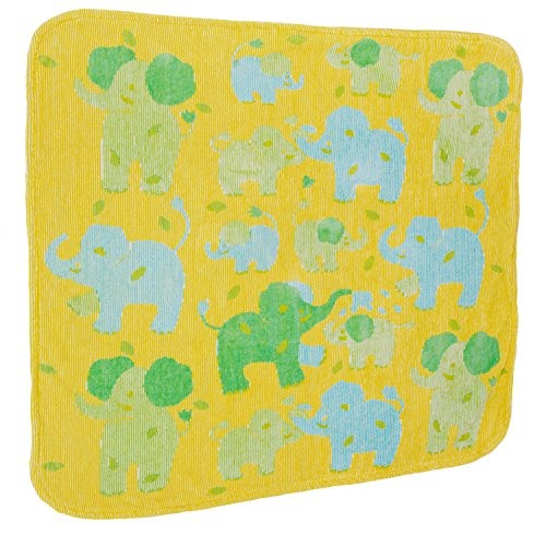 Breganwood Organics Baby & Toddler Hooded Towel, Yellow with Green & Blue Elephants in Velour Terry