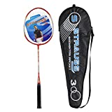 Strauss Power 300 Badminton Racquet, Pack of 1 with  Cover (Black/Red)