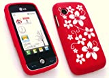 EMARTBUY LG GS290 COOKIE FRESH SILICON CASE/COVER/SKIN FLORAL RED