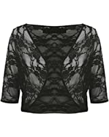 Womens Floral Lace 3/4 Sleeve Ladies Crop Cardigan Bolero Shrug Plus Size 8-22