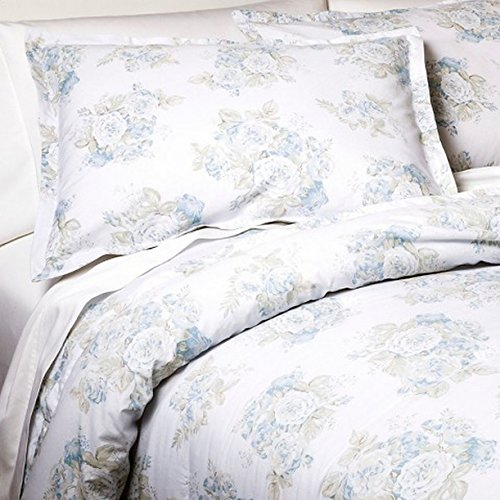 Simply Shabby Chic King Bed Comforter & Shams Set Pretty Blue Floral 3 Pc