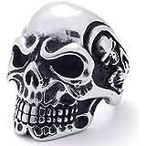 KONOV Jewelry Vintage Gothic Skull Biker Stainless Steel Men's Ring