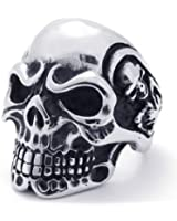 KONOV Jewelry Vintage Gothic Skull Biker Stainless Steel Men's Ring