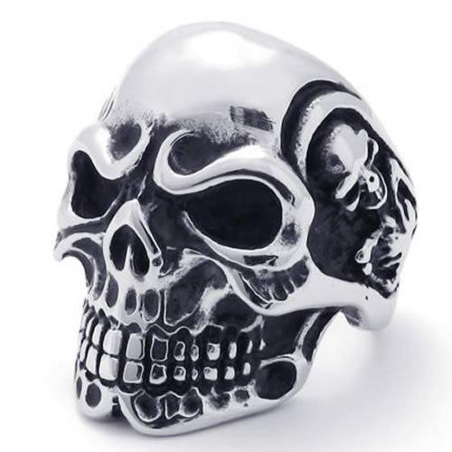 KONOV Jewelry Vintage Gothic Skull Biker Stainless Steel Mens Ring, Silver, Size 11