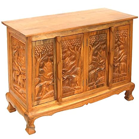 Exp 39-Inch Handmade Royal Elephant Storage Cabinet/Sideboard Buffet, Natural Brown