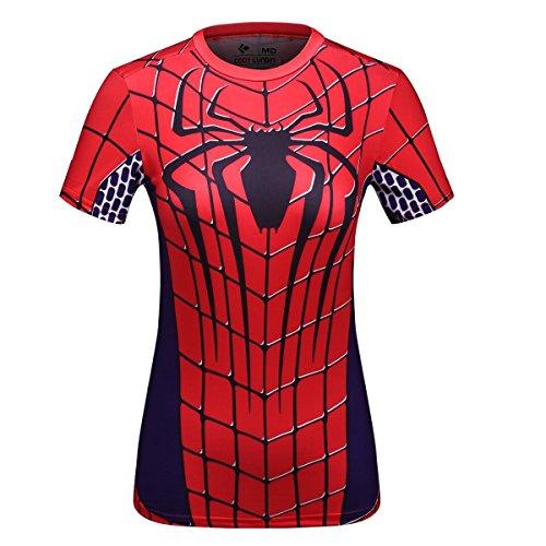Cody Lundin® Donna Maniche Corte T-Shirt,Sport Fitness Running Yoga Danza Shirt Supereroe Ragno Maglietta (M)