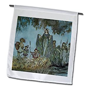 BLN Fairies Fine Art Collection - Comus Sabrina Rises Attended by Water Nymphs Arthur Rackham Fantasy Fairy Painting - 12 x 18 inch Garden Flag (fl_126300_1)