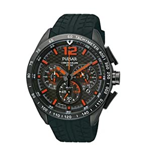 Sport Chronograph Stainless Steel Case Rubber Strap Black Tone Dial Date Display