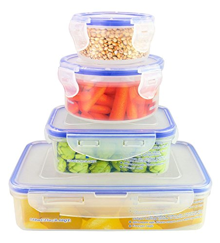 ChefLand 8-Piece Air Tight Plastic Food Storage Containers with Locking Lids, Assorted Sizes, Clear (Assorted Deli Containers compare prices)