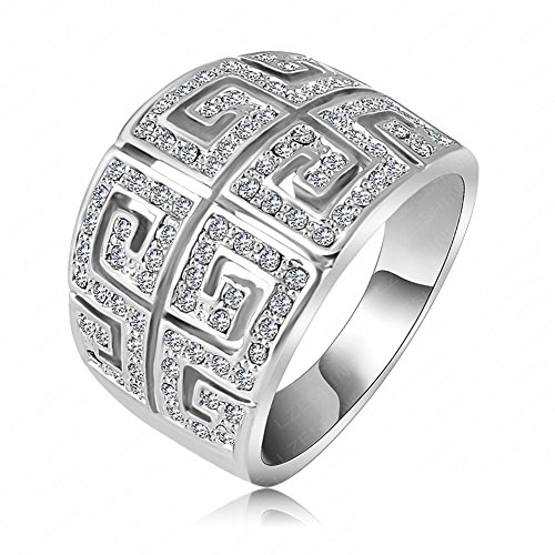 FENDINA Jewelry 18K White Gold Plated Wedding Engagement Rings Geometric Bling Cubic Zirconia Crystal for Women Gift