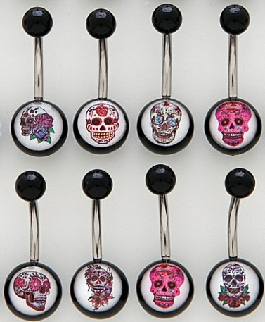 8 x Bonus Pack Fantastic Selection Of Sugar Skull Gothic Assorted Non Dangle Belly Bars (all Different)