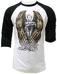 Legend Angel Marilyn Monroe Raglan 3/4 Sleeve For Men\'s T-shirt S White/Black