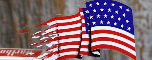 たなびく星条旗 ステッカー 左右組 アメリカ国旗 USA