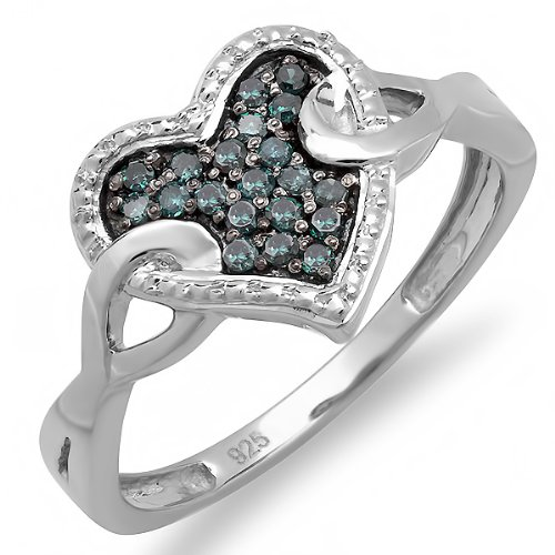 0.20 Carat (ctw) Sterling Silver Round Blue Diamond Ladies Promise Heart Love Engagement Ring 1/5 CT