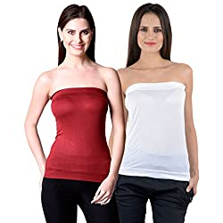 NumBrave Womens Maroon, White Tube Top (Combo of 2)