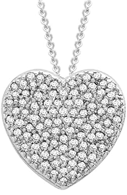 Carissima 9ct White Gold 0.25ct Diamond Heart Pendant on Curb Chain Necklace 46cm/18""