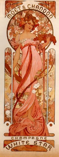 Sheet of 21 Personalised Glossy Stickers or Labels Mucha Alphonse Moet and Chandon White Star