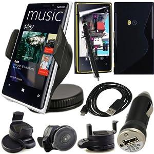 BAAS® Nokia Lumia 920 Support Voiture Ventouse pour Fixation sur Pare Brise Avec 360 ° Degré rotation fonction+ Housse Etui en Silicone Gel + Micro USB câble de données + USB voiture chargeur Adaptateur + Films de protection écran + Stylet