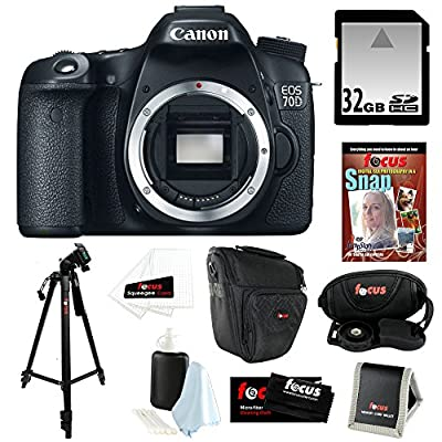 "Canon EOS 70D 20.2 MP Digital SLR Camera w/ Dual Pixel CMOS AF (Body Only) + 32GB Memory Card + Camera Case w/ Shoulder Strap + Photography DVD Guide + 7"" Mini Spider Tripod + Accessory Kit"