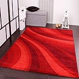 PHC - Tappeto moderno per soggiorno e altro con motivo a onde, colore: Rosso 160 x 230 cm