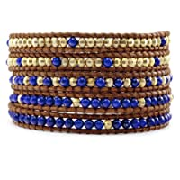 Chan Luu Lapis And Gold Wrap Bracelet on Natural Brown Leather