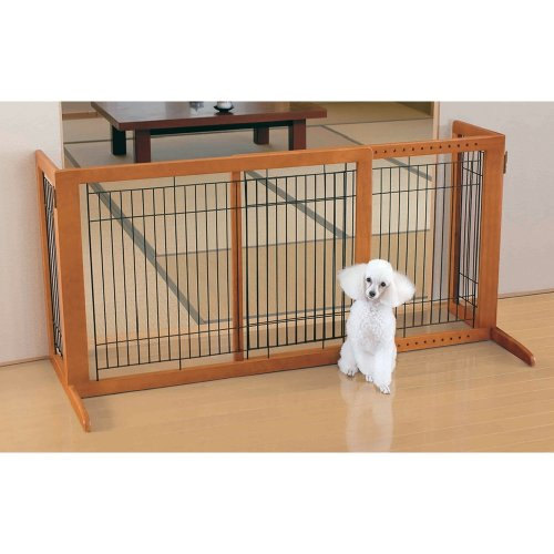 Richell Wood Freestanding Pet Gate, High-Large, Autumn Matte Finish