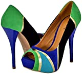 Qupid Neutral-196 Blue Velvet Women Platform Pumps
