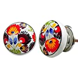 Pack of 4 Pieces Flat Floral Pattern Silver Round Peacock Ceramic Cabinet Knobs Furniture Handle Drawer Pull Vintage Designer Handmade