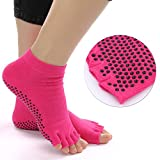 Discoball Non Slip Silicone Dot Cotton Yoga Socks for Women(Half toes, Rose red)