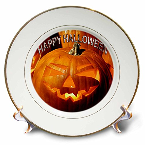 3dRose LLC Happy Halloween 8-Inch Porcelain Plate